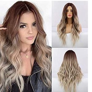 Long Wavy Ombré Ash Blonde Wig